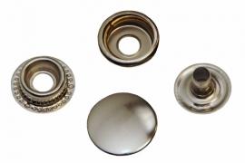 Leder drukknopen Nikkelkleur 15mm dia (10 sets)