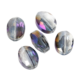 Facet Kristal Glaskralen Ovaal Purple AB Rainbow 12x9mm