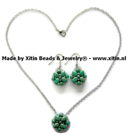 Samos Beaded bead Turquoise Groen  Jewelry Set,  Handmade