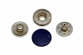 Leder drukknopen Donker Blauw 12mm dia (10 sets)