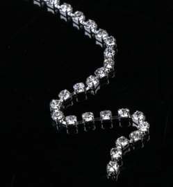Cup chain /Mesh strass ketting silver tone 2x2mm