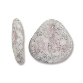 Czech Rose Petals White Teracota Copper 14x13mm (streng 50st.)