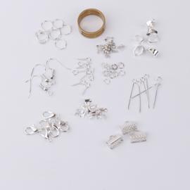 Set met diverse basismaterialen om sieraden te maken  Silver plated