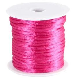 Satijnkoord Fuchsia Roze 1mm dik