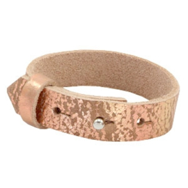 Cuoio Armband Leer 15mm Metallic Print Rose Gold