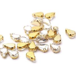 Rijg strass Crystal Teardrop 8x13mm Gold Plated (5st.)