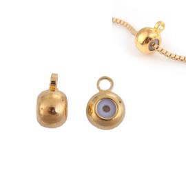 Schuifslot / kraal voor koord of ketting met oogje Gold Plated