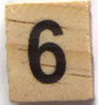 Houten Scrabble Cijfer 6