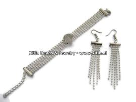 Zelfmaak pakketje Ball chain Armband met schuifkraal & Bijpassende Oorbellen