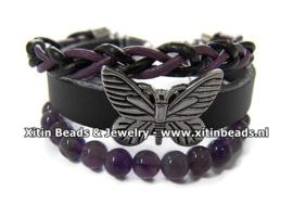 Xitin Lederen Armband Amethist, Zwart/Paars met Vlinder en Kralen