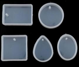 Set van 5 Mallen voor hangers Vierkant, Rond, Ovaal, Druppel & Rechthoek