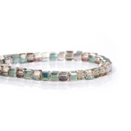 Kristal Glas Kubus kralen Green AB Rainbow 3mm (per streng)