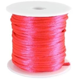 Satijn koord Neon Roze 2mm dik