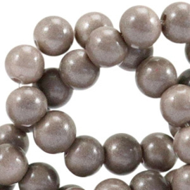 Glaskraal Opaque Metallic Taupe Brown Dyed 8mm (per streng)
