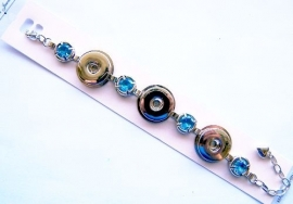 Chunk Armband zilverkleur met Blauwe strass