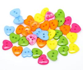 VOORDEELVERPAKKING 100 stuks Knopen vrolijk gekleurde Acryl Hartjes Blauw