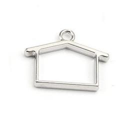 Resin Bezel Hanger Huisje Silver Tone