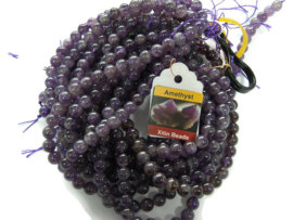 Natural Amethyst rond 10mm per streng