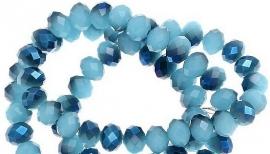 Facet Disc light blue & dark blue AB  8x6mm (per streng)