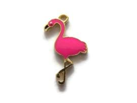 VOORDEELVERPAKKING 10 stuks Hanger / Bedel Flamingo Goud met Roze Emaille