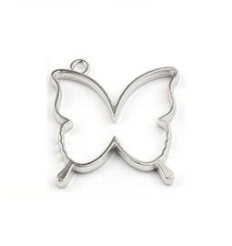 Resin Bezel Hanger Vlinder Silver Tone