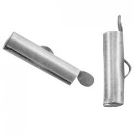 DQ metaal schuif eindkap 15.5 x 6 mm Antiek Zilver (set 2 st.)