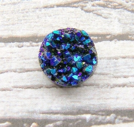 Druzy Resin cabochon rond blue metallic 12mm