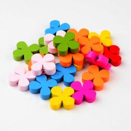 VOORDEELVERPAKKING 20 stuks Houten kralen mix bloem