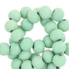 Houten ronde kraal Soft Fern Green 8mm (ca 40 stuks)