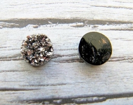 Druzy Resin cabochon rond gunmetal 12mm