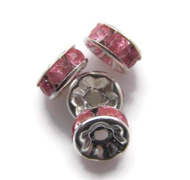 Rhinestone rondelle spacers Roze (10 st.)