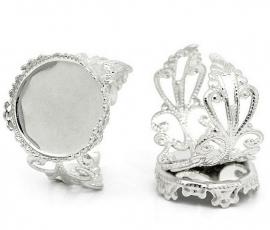 Sierlijke Barok Ring voor 16mm cabochon Zilver