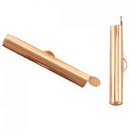 DQ metaal schuif eindkap 25.5 x 6 mm Rose Goud (set 2 st.)