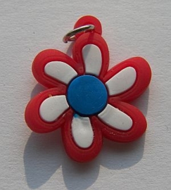 Rubber Loomband Bedel Bloem Rood-Wit-Blauw