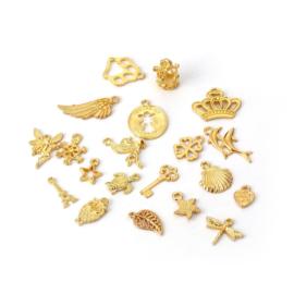 VOORDEELVERPAKKING 20 stuks Bedels MIX Gold Plated