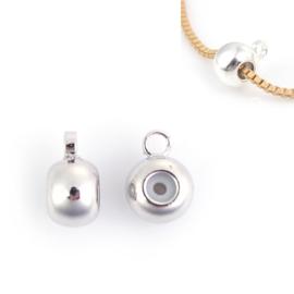 Schuifslot / kraal voor koord of ketting met oogje Silver Plated