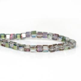 Kristal Glas Kubus kralen Mauve & Green AB Rainbow 3mm (per streng)