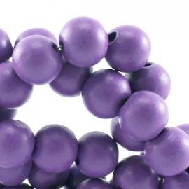 Houten ronde kraal Grey Violet Purple 6mm (ca 100 stuks)