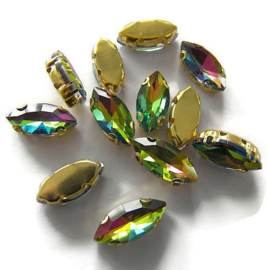 Navette strass Rainbow  7x15mm Gold Plated (5st.)