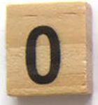 Houten Scrabble Cijfer 0