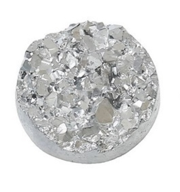 Druzy Resin cabochon rond Zilver 12mm