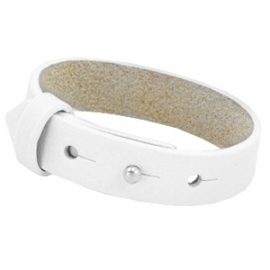 Cuoio Armband Leer 15mm Bright White