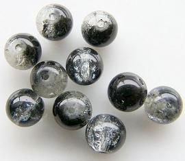 Crackle kraal zwart/transparant 10mm (10st.)