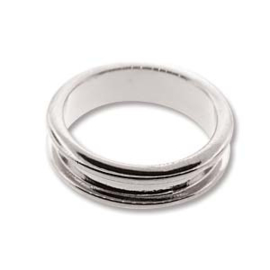 Basisring channel ring 16.7mm Silver Plated Wide