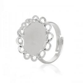 Sierlijke basis Ring voor 15mm cabochon Zilver