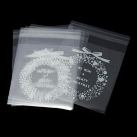 Zelfklevend plastic kerst geschenk zakjes (100st.)