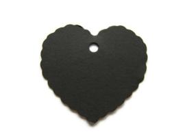 Craft Papieren Kaartje Hart Zwart (10st)