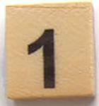 Houten Scrabble Cijfer 1