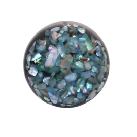 Resin Cabochon Rond, Turquoise Schelp Flakes 18mm