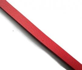 Leer Koord Plat Rood 8mm  (85cm)
